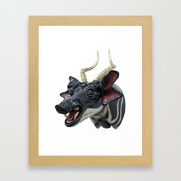 Trophy Head (GoldenHorned7Ocular4AuditoryBlackAndWhiteBoar) Framed Art Print