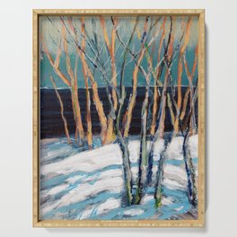 White Birch Grove / Dennis Weber / ShreddyStudio Serving Tray