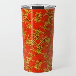 Brocade royal monograms in olive tones on a red background. Travel Mug