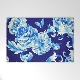 Blue Flowers & Butterflies Pattern Welcome Mat