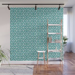 Teal and White Greek Key Pattern Wall Mural