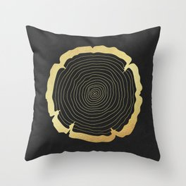 Metallic Gold Tree Ring on Black Throw Pillow