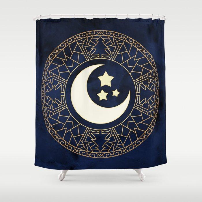 MANDALA MOON AND STARS Shower Curtain