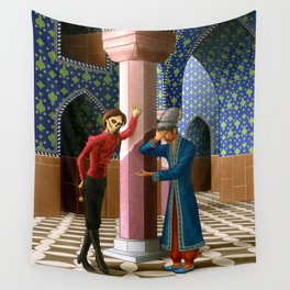 Erik gives the Daroga a hard time Wall Tapestry