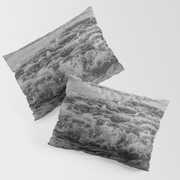Black and White Pacific Ocean Waves Pillow Sham