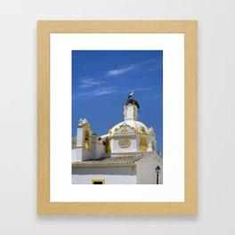 Stork on dome Framed Art Print