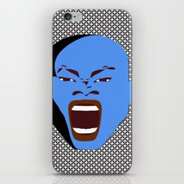 blue man head shot iPhone Skin