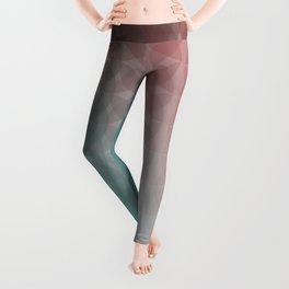 Turquoise Red Light to Dark Scale Ombre Overlapping Circle Gradient Leggings