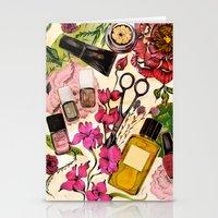 nail polish Stationery Cards featuring Nail polish and peonies  by Felicia Atanasiu