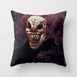 Scary Clown Purple Smoke Throw Pillow