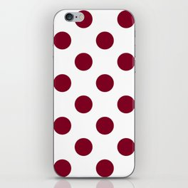 Large Polka Dots - Burgundy Red on White iPhone Skin