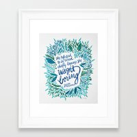 fitzgerald Framed Art Prints featuring Zelda Fitzgerald – Blue on White by Cat Coquillette
