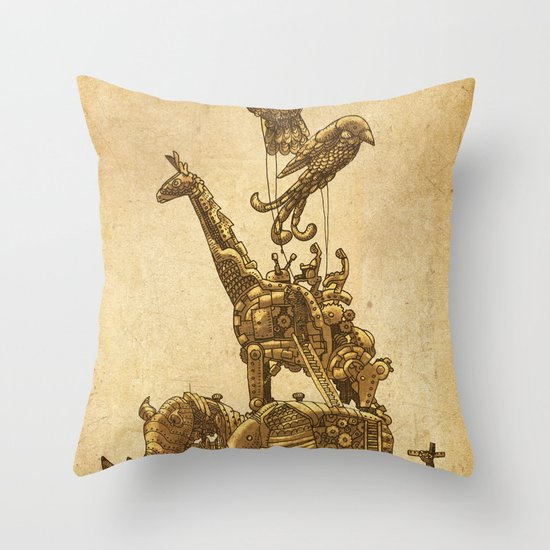 Mechanical Menagerie  Throw Pillow