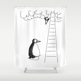 Metaphysical Penguin Waiting for You Shower Curtain