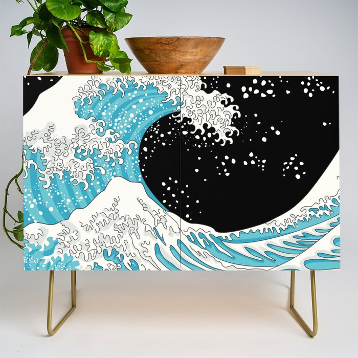 The Great Wave (night version) Credenza