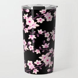 Cherry Blossoms Pink Black Travel Mug