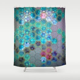 Onion cell hexagons Shower Curtain