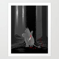 moomin Art Prints featuring Hide and Seek by Tobias Green