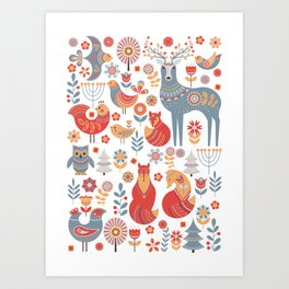 Seamless pattern with winter forest, deer, owl and Fox. The Scandinavian style. Art Print