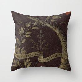 "Leonardo Da Vinci ""Wreath of Laurel, Palm, and Juniper with a Scroll inscribed Virtutem Forma Decor"" Throw Pillow"