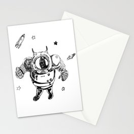 Funny Galaxy Space Black Astronaut Cosmonaut Spaceman Stationery Cards