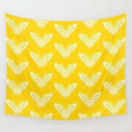 Butterfly Pattern Yellow Wall Tapestry