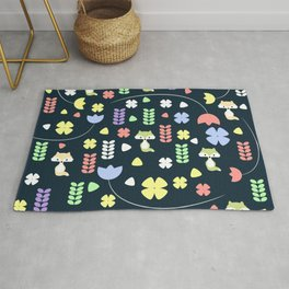 Cute foxes, flowers and more Rug