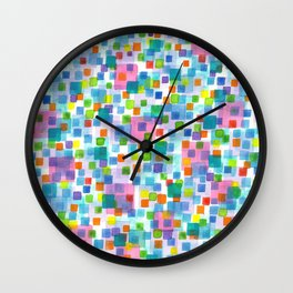 Pink beneath Square-Confetti Wall Clock