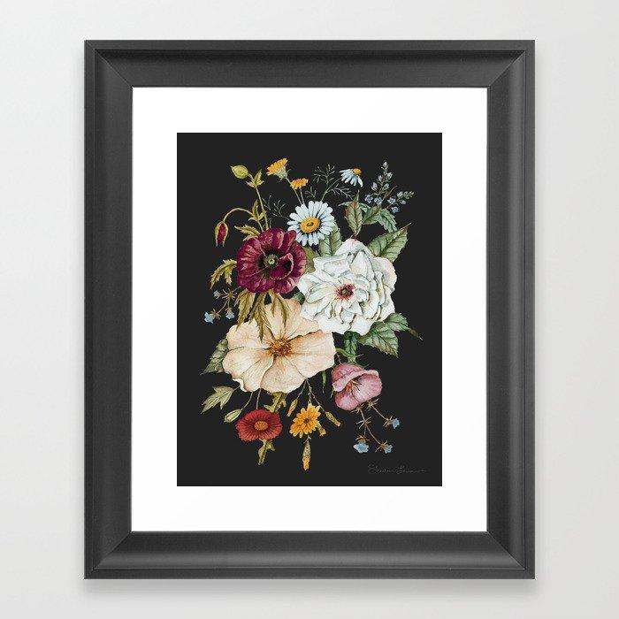 Colorful Wildflower Bouquet on Charcoal Black Gerahmter Kunstdruck
