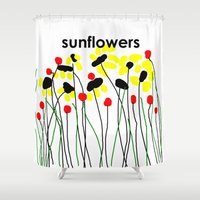 sunflowers Shower Curtains featuring Sunflowers by Jessielee