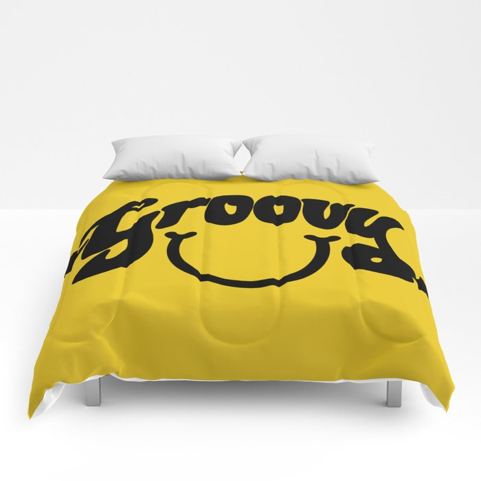 Groovy Smile // Black Smiley Face Fun Retro 70s Hippie Vibes Mustard Yellow Lettering Typography Art Comforters