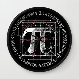 Pi Sign Drawing White Version Wall Clock