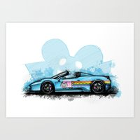 deadmau5 Art Prints featuring Deadmau5's Purrari 458 Spider by an.artwrok