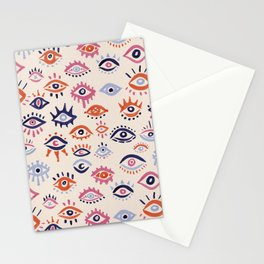 Mystic Eyes – Coral & Navy Stationery Cards