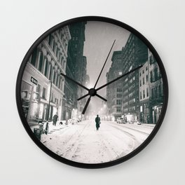 New York - Snow at Night Wall Clock