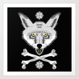 Silver Fox Geometric Art Print