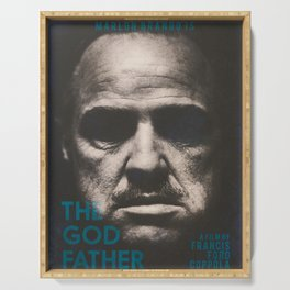 The Godfather, minimalist movie poster, Marlon Brando, Al Pacino, Francis Ford Coppola gangster film Serving Tray