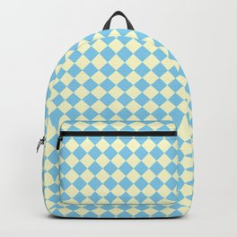 Cream Yellow and Baby Blue Diamonds Backpack