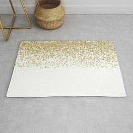 Sparkling gold glitter confetti on simple white background - Pattern Rug