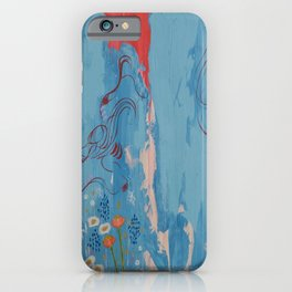 Red and Blue Abstract Flower Field Painting by Jodi Tomer. iPhone Case