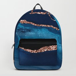 Blue Indigo And Rose Gold Glitter Marble Agate Backpack