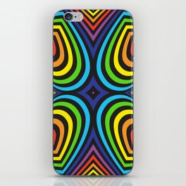 Three-dimensional volumetric pattern. colorful rainbow on black background iPhone Skin
