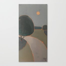 Moon over the road Canvas Print