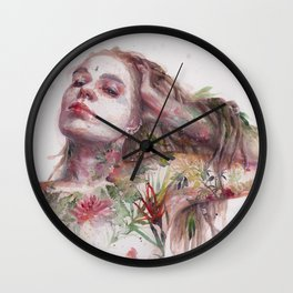 Leaves on Skin Wall Clock