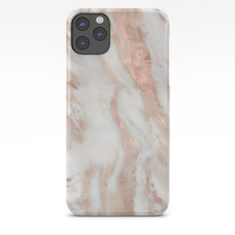 White and rose-gold marble texture design iPhone Case