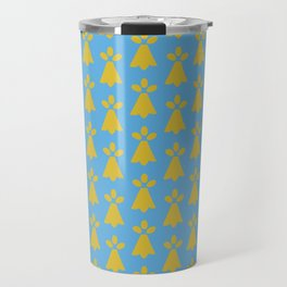 French Country Blue and Gold Ermine Spots Patterned Print Travel Mug