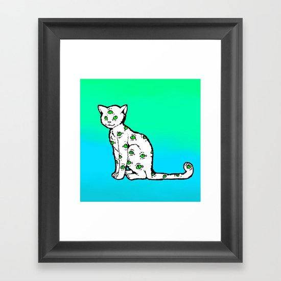 SCAREDY CAT (Cool Colors) Framed Art Print