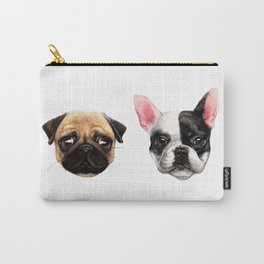 a Pug and a Bulldog Carry-All Pouch
