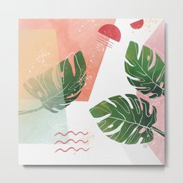 Abstract Monstera Leaf Watercolor Painting Metal Print