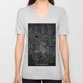Columbus Black Map Unisex V-Neck